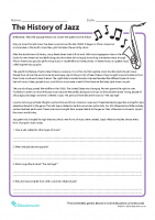 History of Jazz Read _ Write Worksheet